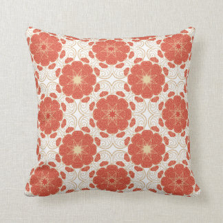 Red And Gold Floral Lace Pattern Throw Pillow