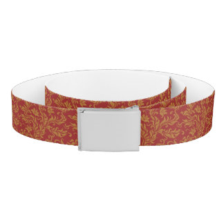 Red and Gold Floral Pattern Belt