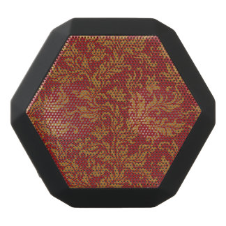 Red and Gold Floral Pattern Black Bluetooth Speaker