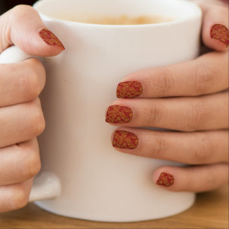 Red and Gold Floral Pattern Minx Nail Art