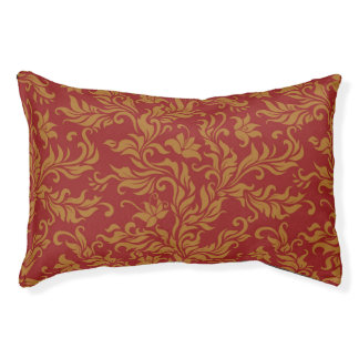 Red and Gold Floral Pattern Pet Bed