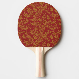 Red and Gold Floral Pattern Ping Pong Paddle