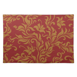 Red and Gold Floral Pattern Placemat