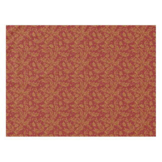 Red and Gold Floral Pattern Tablecloth