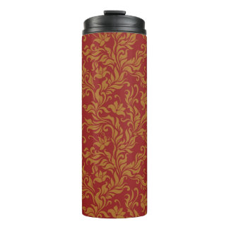 Red and Gold Floral Pattern Thermal Tumbler