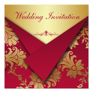 Red and Gold Floral Wedding Invitation