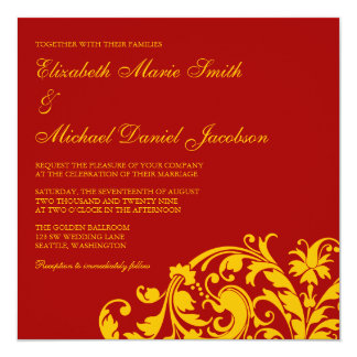 "Red and Gold Flourish Swirl Wedding 5.25"" Square Invitation Card"