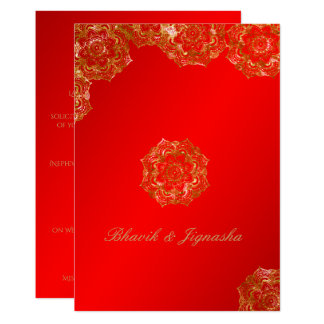 Red and Gold Flower Indian Wedding Invitation