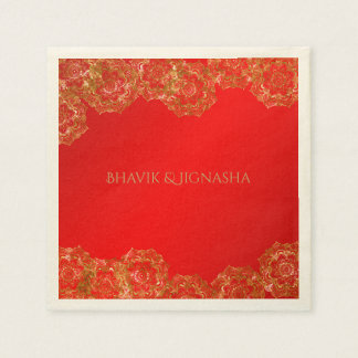 Red and Gold Flower Indian Wedding Napkin Paper Napkin
