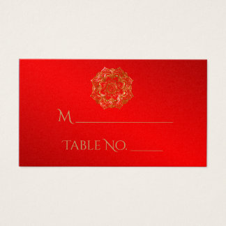 Red and Gold Flower Indian Wedding Place Cards
