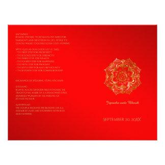Red and Gold Flower Indian Wedding Program 21.5 Cm X 28 Cm Flyer