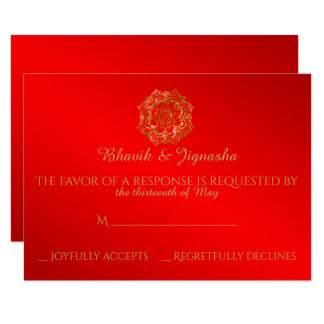 Red and Gold Flower Indian Wedding Response Card 9 Cm X 13 Cm Invitation Card