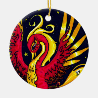 Red and Gold flying phoenix Christmas Ornament