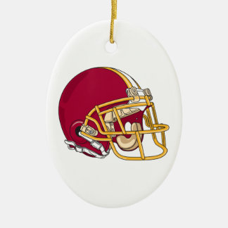 red and gold football helmet vector graphic christmas ornament