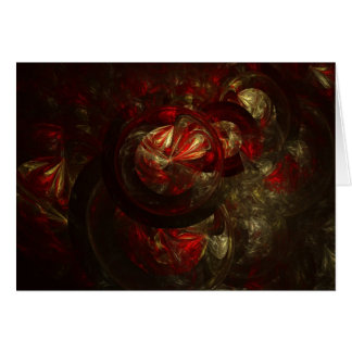 Red and Gold Fractal Ornament Greeting Card