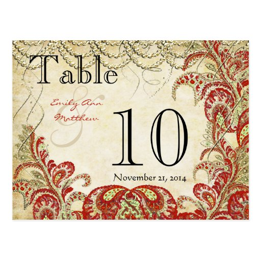Red and Gold Gatsby Paisley Peacock Table Number Postcard