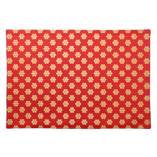 Red and Gold Glitter Flower Pattern Decorative Placemat