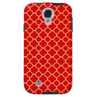 Red and Gold Glitter Quatrefoil Pattern Decorative Galaxy S4 Case