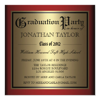 Red and Gold Graduation 13 Cm X 13 Cm Square Invitation Card