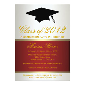 Red and Gold Graduation Invitation