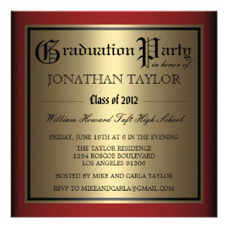 Red and Gold Graduation Custom Invitations
