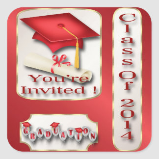 Red and Gold Graduation Party Envelope Seal Square Sticker