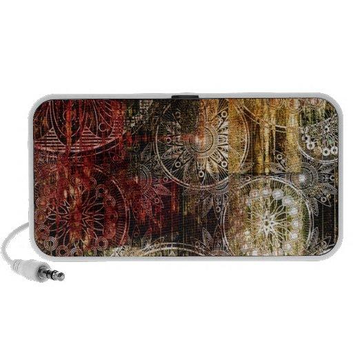 Red and Gold Grunge Swirl Design iPod Speaker