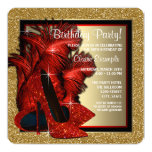 Red and Gold High Heels Birthday Party Custom Invitations