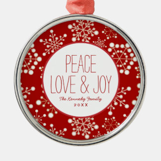 Red and Gold Holiday Pattern Christmas Ornament