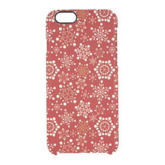 Red and Gold Holiday Pattern Clear iPhone 6/6S Case