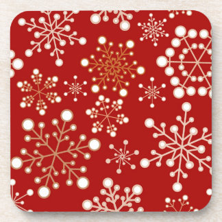 Red and Gold Holiday Pattern Coaster