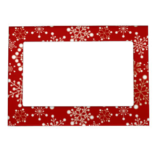 Red and Gold Holiday Pattern Magnetic Frame