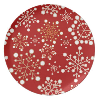 Red and Gold Holiday Pattern Plate