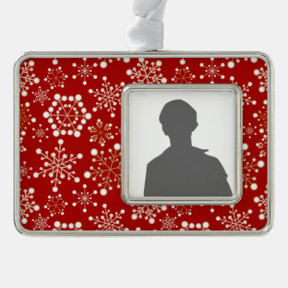 Red and Gold Holiday Pattern Silver Plated Framed Ornament