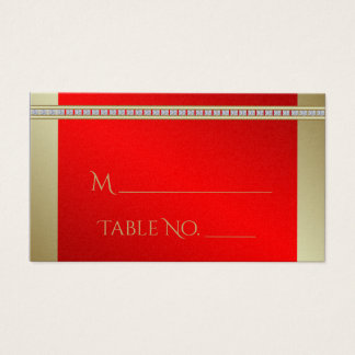 Red and Gold Indian Damask Wedding Place Cards