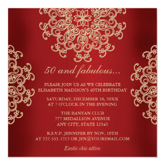 RED AND GOLD INDIAN INSPIRED BIRTHDAY 13 CM X 13 CM SQUARE INVITATION CARD