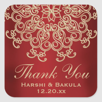 RED AND GOLD INDIAN INSPIRED THANK YOU LABEL SQUARE STICKER