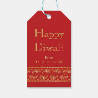 Red and Gold Indian Pattern Diwali Gift Tags