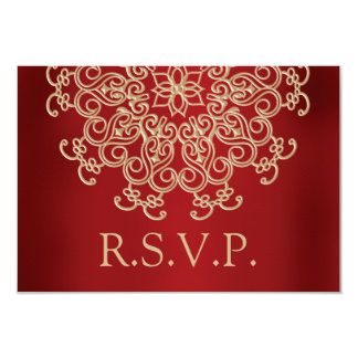 RED AND GOLD INDIAN RESPONSE RSVP CARD 9 CM X 13 CM INVITATION CARD
