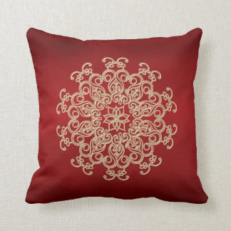 RED AND GOLD INDIAN STYLE THROW PILLOW