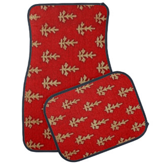 Red and Gold Leaf Design Set of 4 Car Mats