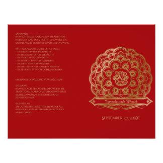 Red and Gold Mandala Hindu Wedding Program 21.5 Cm X 28 Cm Flyer