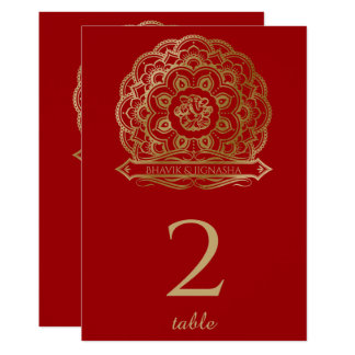 Red and Gold Mandala Indian Table Number 13 Cm X 18 Cm Invitation Card