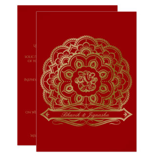 Red and Gold Mandala Indian Wedding Invitation