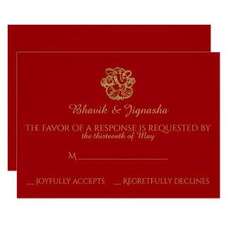 Red and Gold Mandala Indian Wedding Response Card 9 Cm X 13 Cm Invitation Card