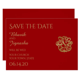 Red and Gold Mandala Indian Wedding Save the Date 9 Cm X 13 Cm Invitation Card