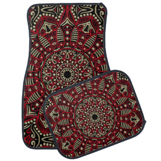 Red and Gold Mandala On Black Or Any Color Car Mat