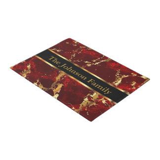 Red and Gold Marble Doormat