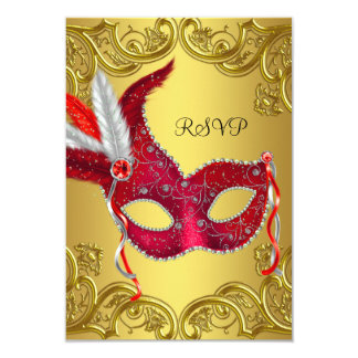 Red and Gold Masquerade Party RSVP 9 Cm X 13 Cm Invitation Card