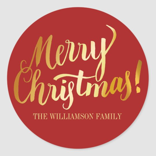 Red and Gold Merry Christmas Personalised Stickers